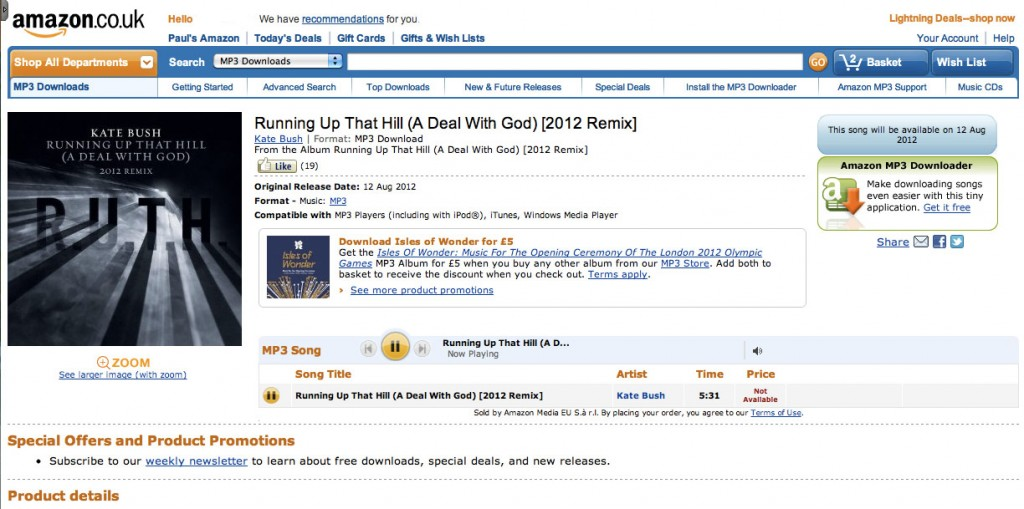 Running Up That Hill (A Deal With God) 2012 Remix Amazon listing