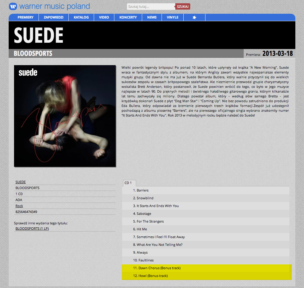Warner Poland / Suede Bloodsports track listing screen shot
