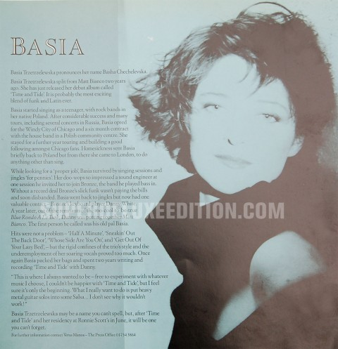 "The bio of Basia from the original 1987 press pack of ""Time and Tide"""