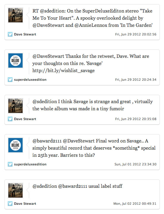 Dave Stewart / Twitter exchange