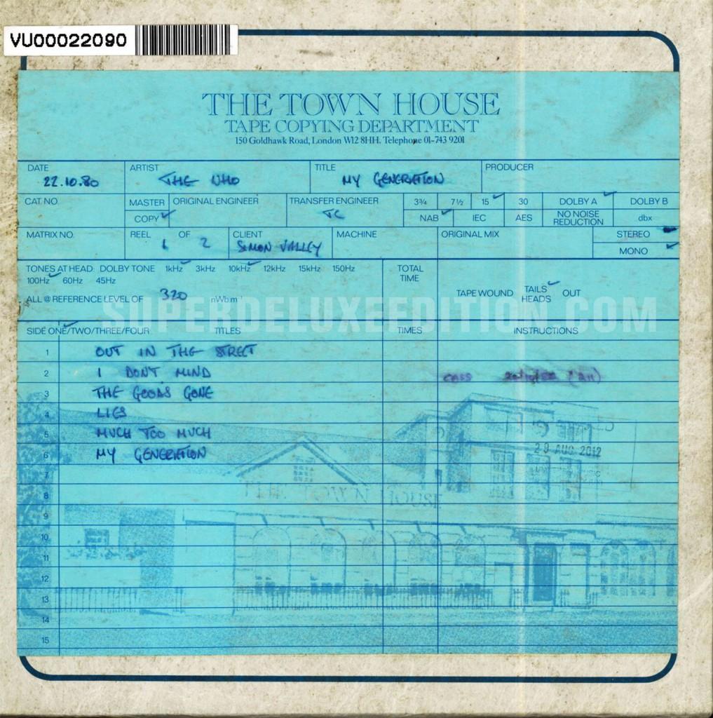 The Who / My Generation UK mono master tape