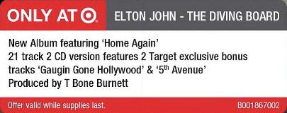 """Elton John """"Diving Board"""" Super Deluxe denied """"Target"""" bonus tracks"""