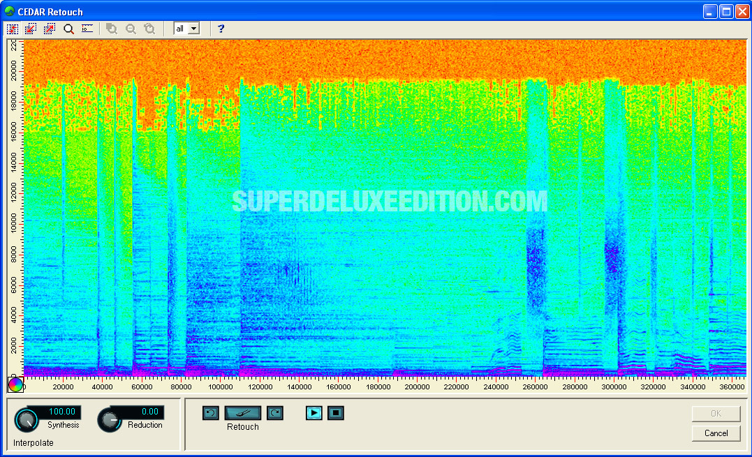 Spectogram of 1980s Island CD when converted to MP3