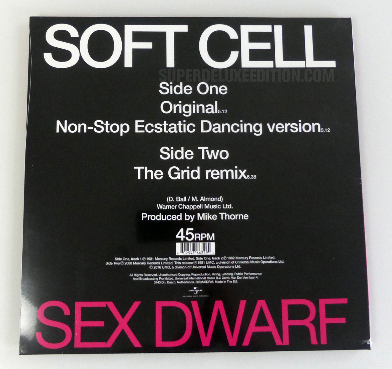 Soft Cell: Sex Dwarf pink vinyl 12-inch