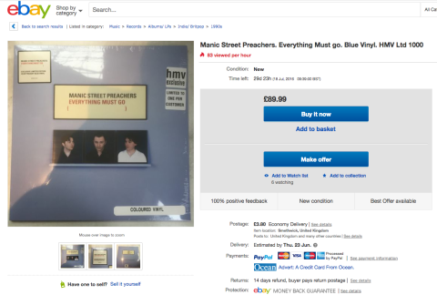 HMV exclusives already on eBay