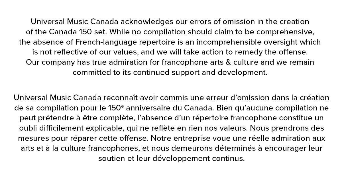 Universal Music Canada statement