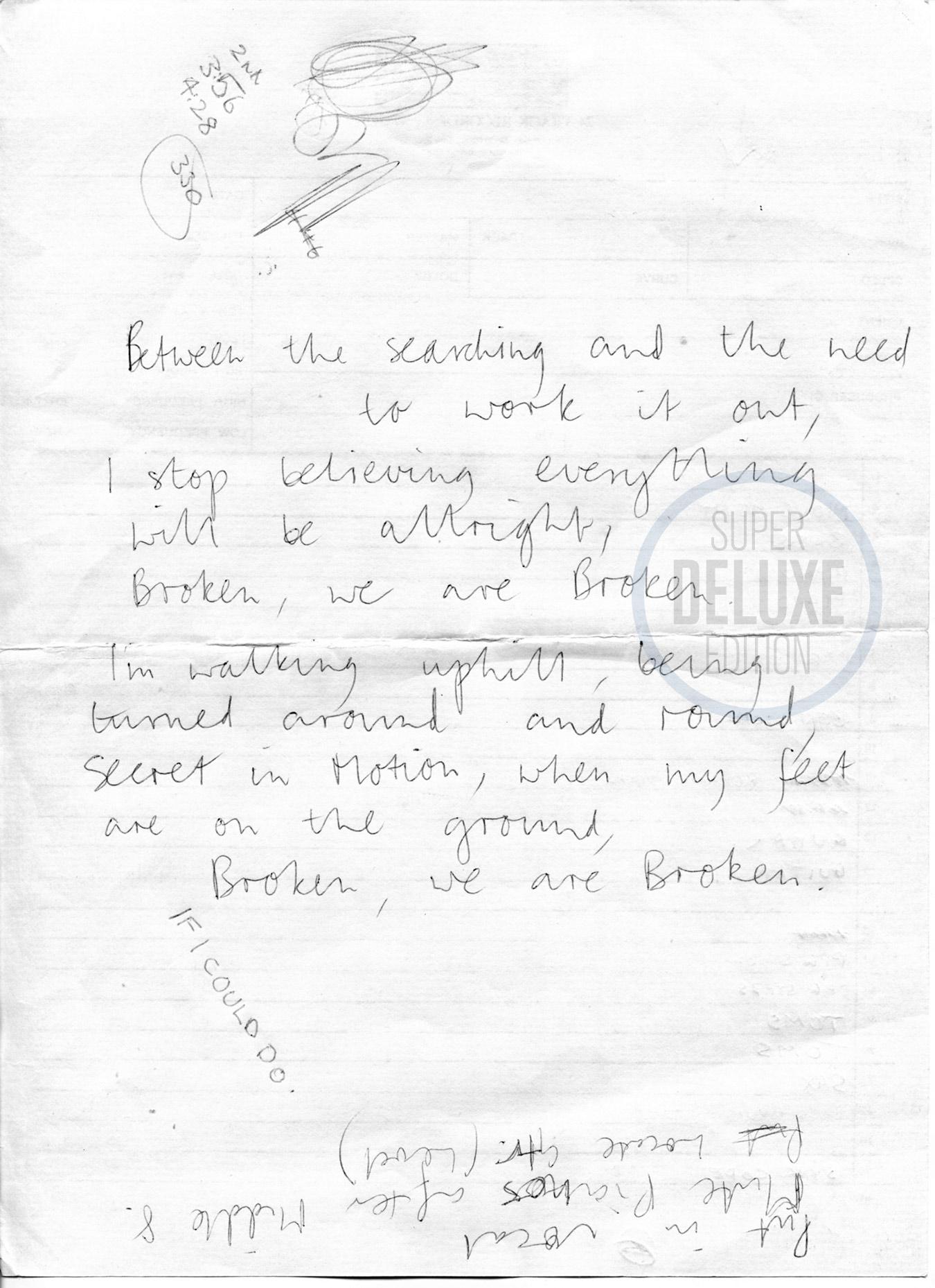 Lyric sheet for Tears For Fears' Broken, handwritten by Roland Orzabal