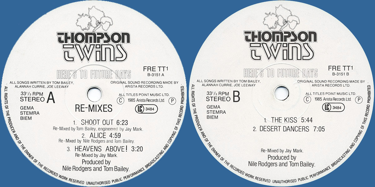 Thompson Twins / Original Here's To Future Days bonus LP labels