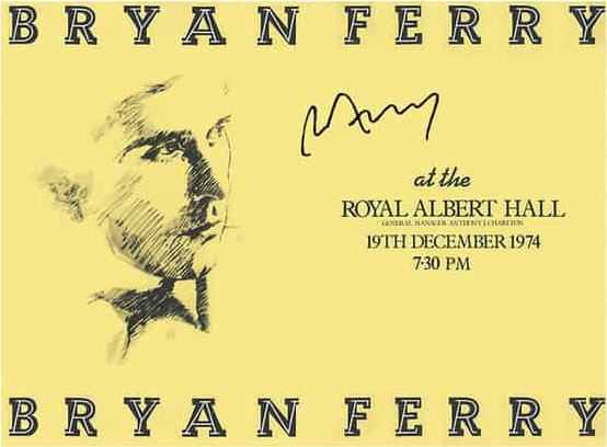 Bryan Ferry / Live at the Royal Albert Hall 1974 signed poster